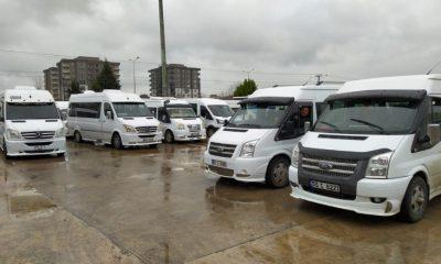 Çarşamba'da dolmuş ve servis araçları dezenfekte ediliyor
