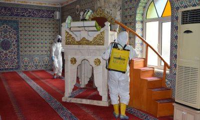 Havza'da camilerde dezenfekte çalışması