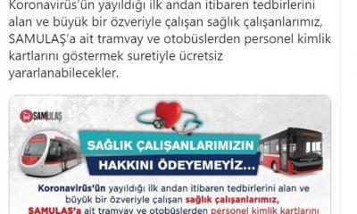 Samsun'da sağlık çalışanlarına ücretsiz ulaşım müjdesi
