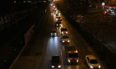 Samsun'da vinç ve çekicilerden şehitler için dev konvoy