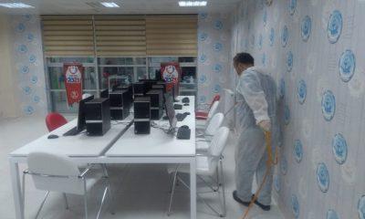 Sinop'taki yurtlar ve spor tesisleri dezenfekte ediliyor