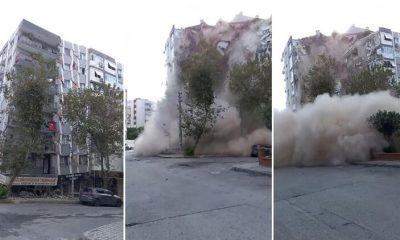 İzmir'de deprem… 7 katlı binanın yıkılma anları görüntülendi!